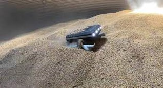 (The newly introduced Grain Weevil Robot navigating around a grain bin)
